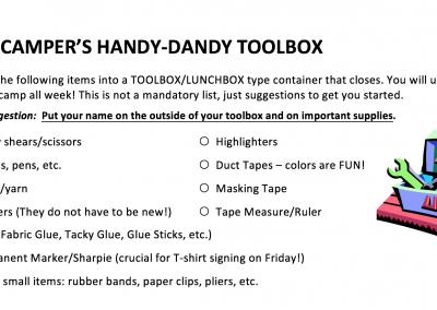 Tool Box Packing List